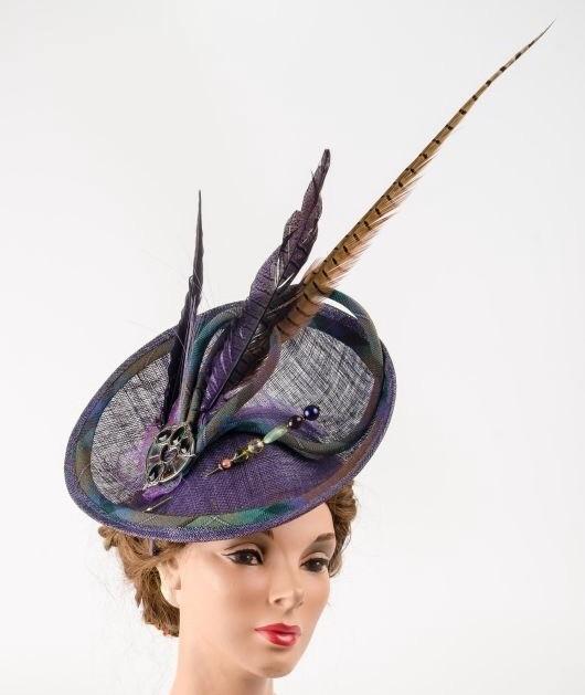 Fabhatrix Bespoke Topaz Oval Sinamay Disc Hat